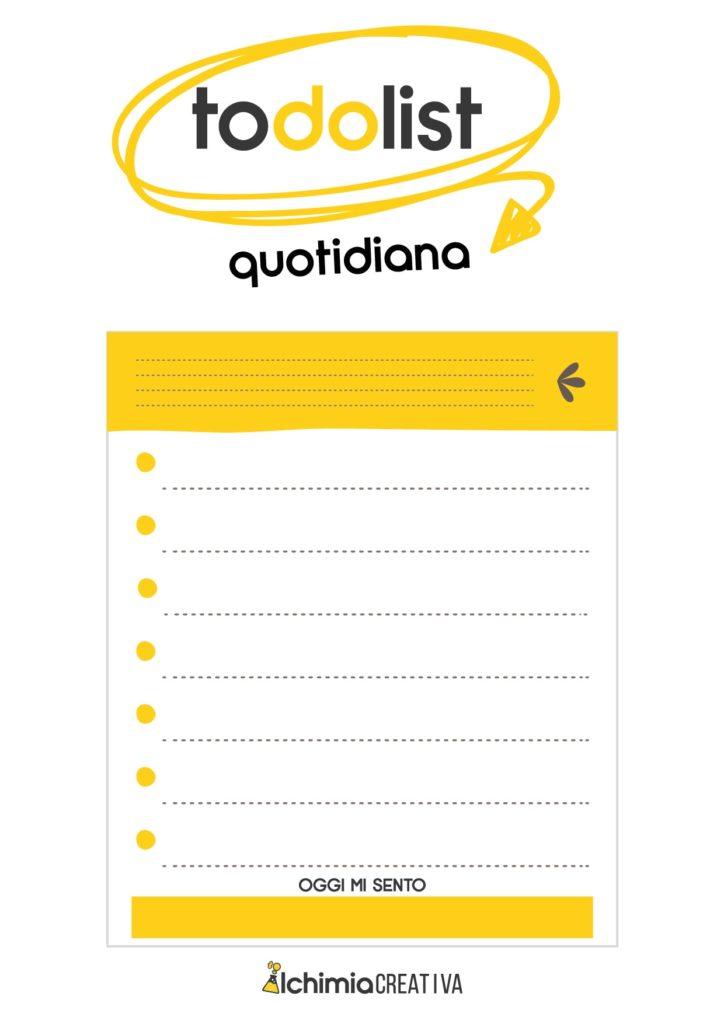 to do list quotidiana per organizzare obiettivi quotidiani